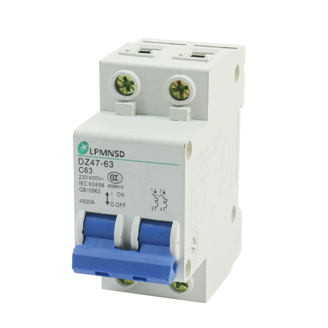 AC 230V/400V 63A DZ47-2P/63A DIN 2P Rail Mounting Overload Proetction Circuit Breaker