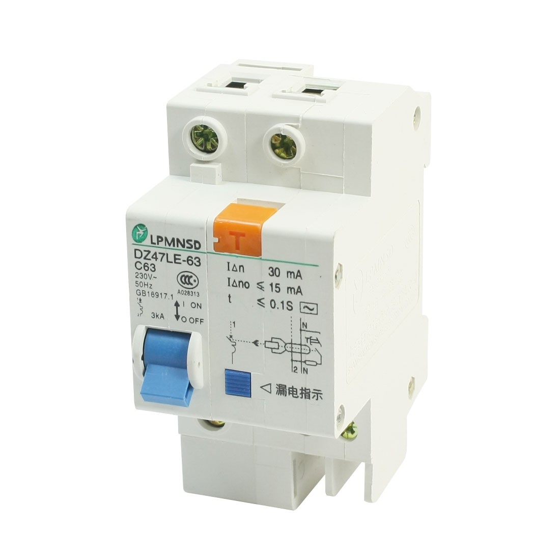 AC230V 63A DZ47LE-1P/63A DIN 1P Rail Mounting Overload Proetction Circuit Breaker