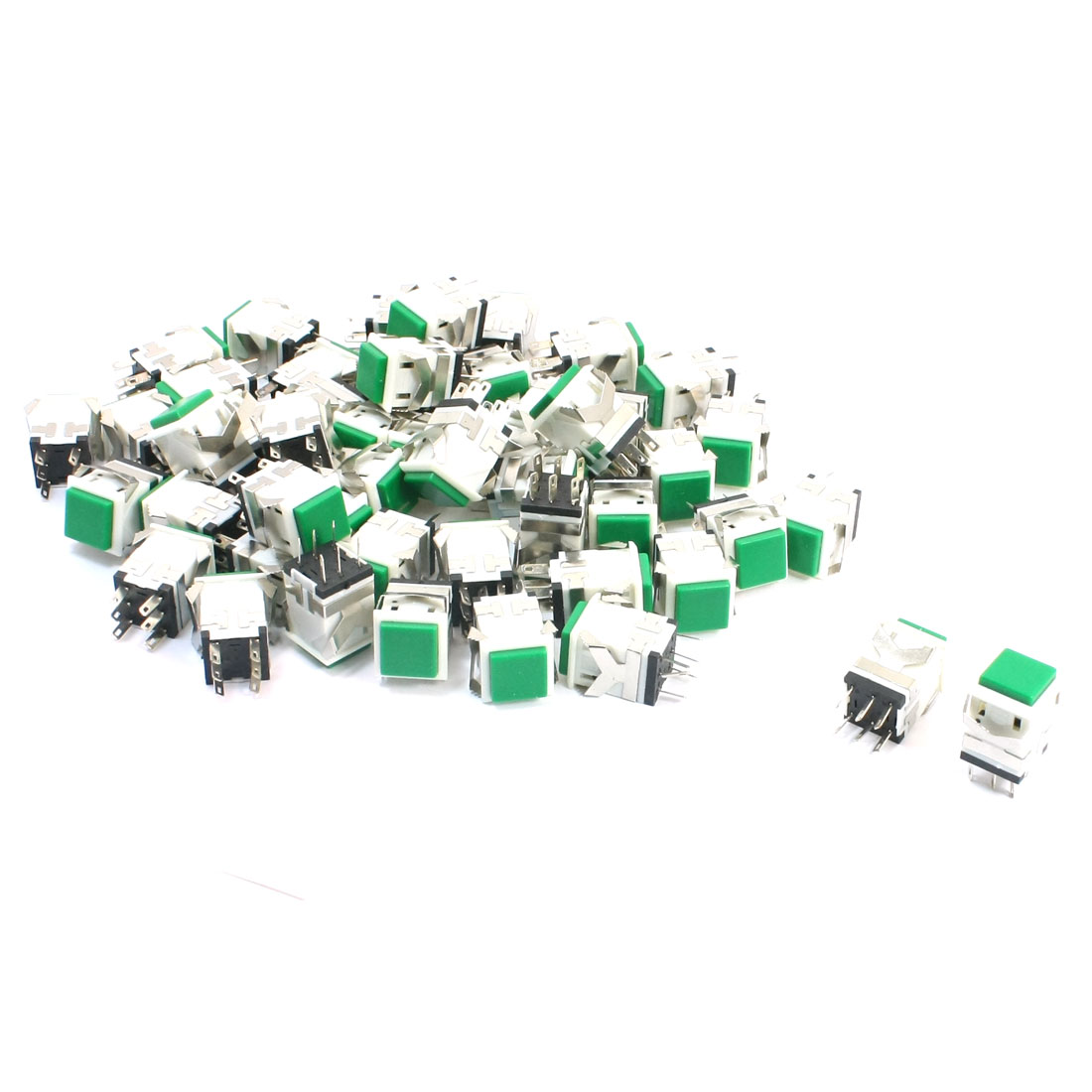 50 Pcs DPDT 6-Pin Self-setting Momentary Control Green Cap Push Button Switch