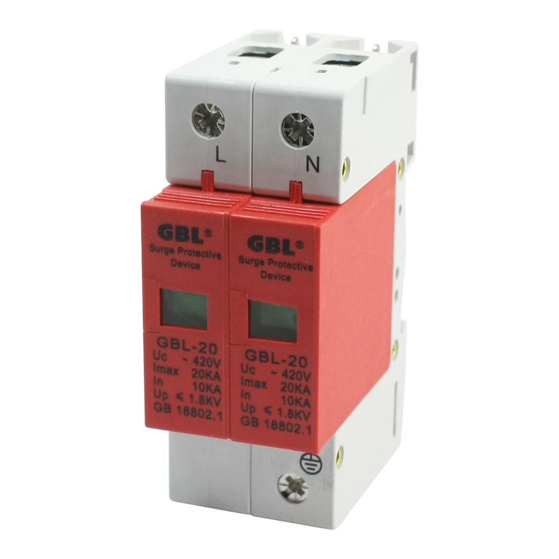 SPD AC 420V 20KA DIN Rail Mount Circuit Breaker Surge Protective Device 2-Poles