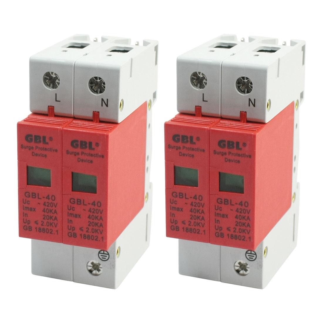 2Pcs SPD AC 420V 40KA DIN Rail Mount Circuit Breaker Surge Protective Device 2-Poles