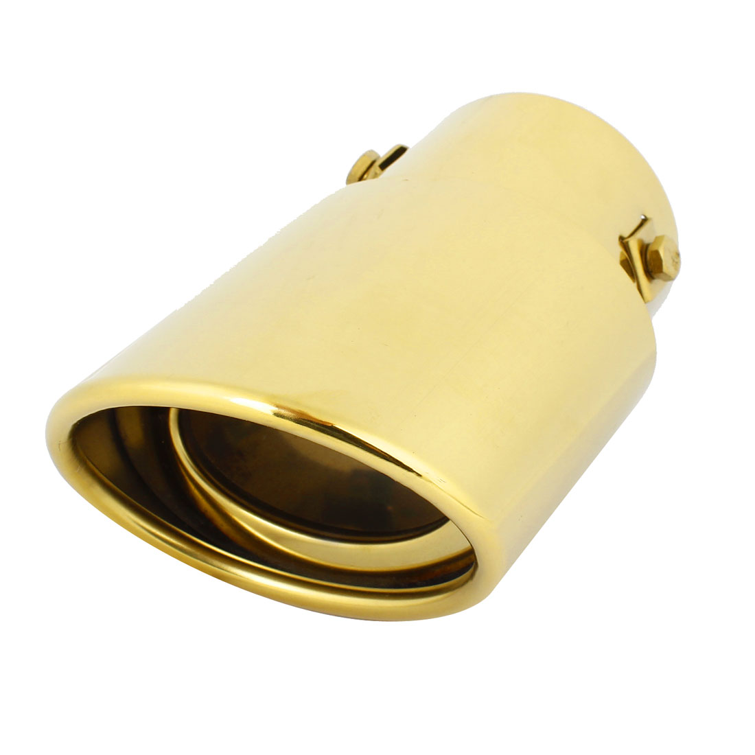 Car Rollled Oval Gold Tone 90 x 66mm Outlet Exhaust Muffler Burnt Tip Pipe