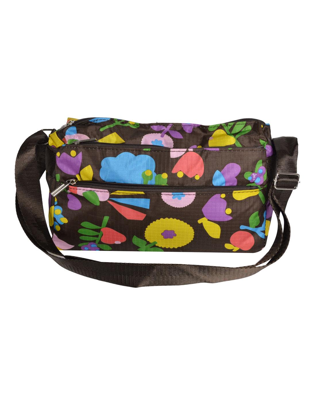 Lady Flower Pattern Rectangle Shaped Zipper Closure Nylon Shoulder Bag Handbag