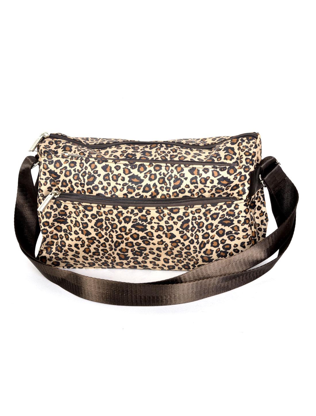 Lady Leopard Pattern Rectangle Shaped Zipper Closure Nylon Shoulder Bag Handbag