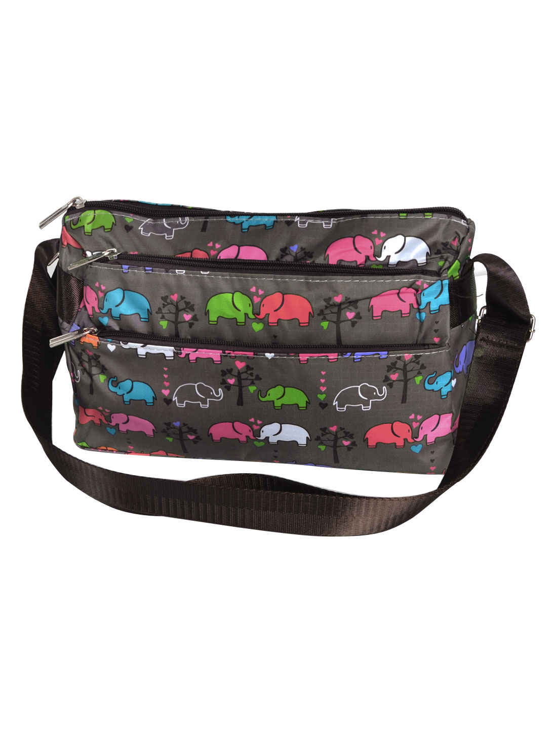Lady Elephant Pattern 3 Compartment Zipper Closure Nylon Shoulder Bag Handbag