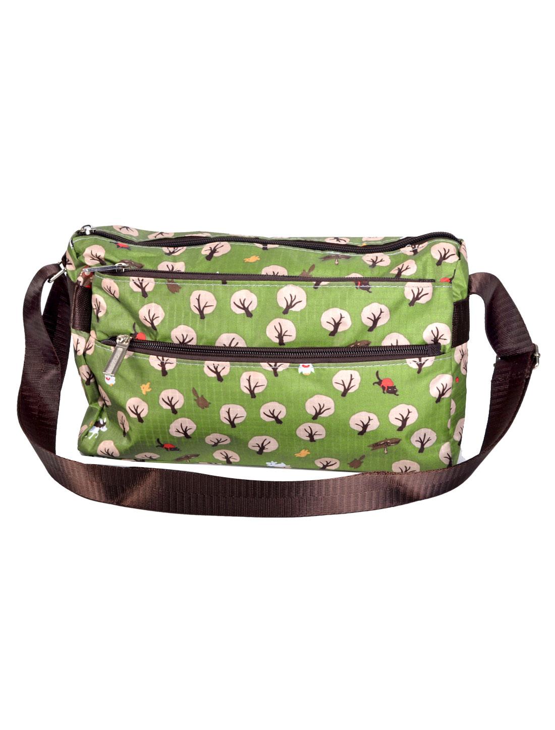 Lady Tree Pattern Rectangle Shaped Zipper Closure Nylon Shoulder Bag Handbag Olive Green