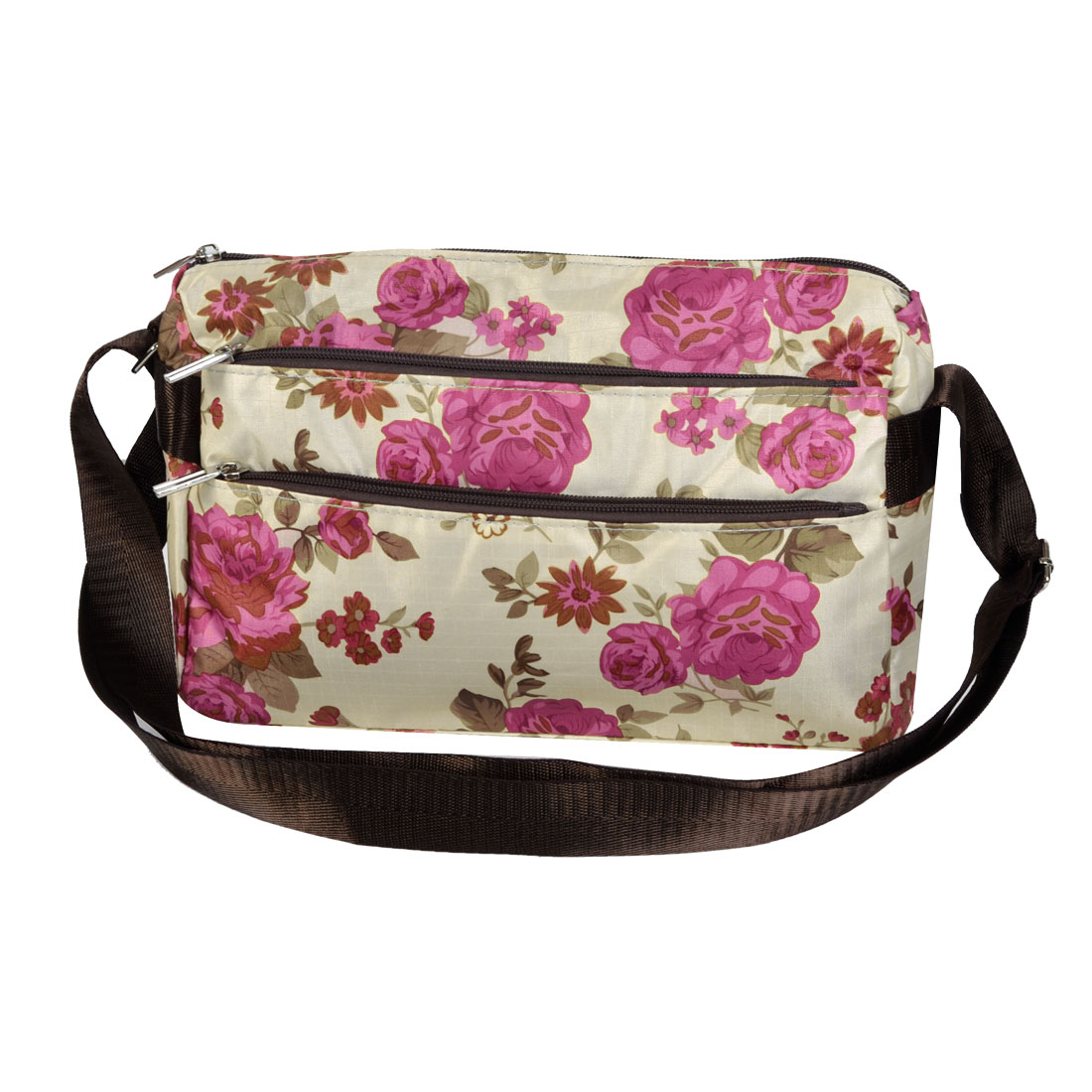 Women Floral Pattern Rectangle Shaped Zipper Closure Nylon Shoulder Bag Handbag