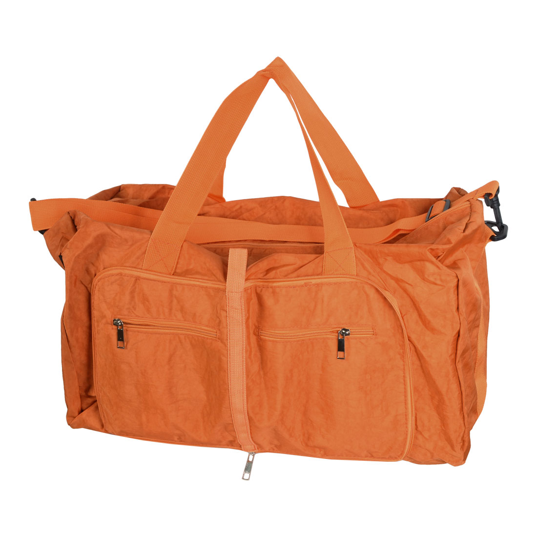 Traveling Household Foldable Pure Pattern Zipper Closure Clothes Storage Hand Bag Holder Pouch Orange 63x45 x13cm