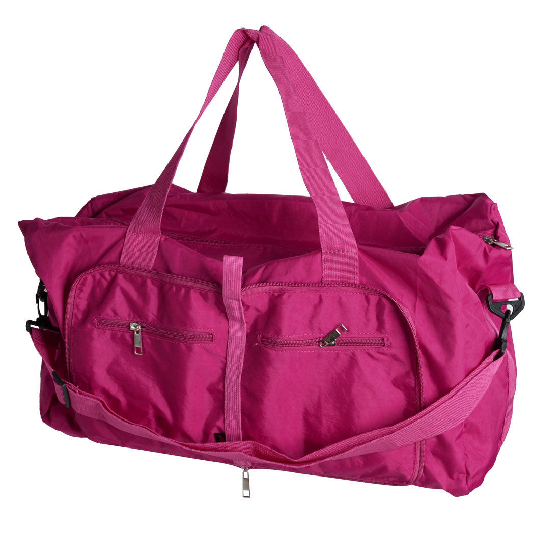 Traveling Household Foldable Pure Pattern Zipper Closure Clothes Storage Hand Bag Holder Pouch Fuchsia 63x45 x13cm