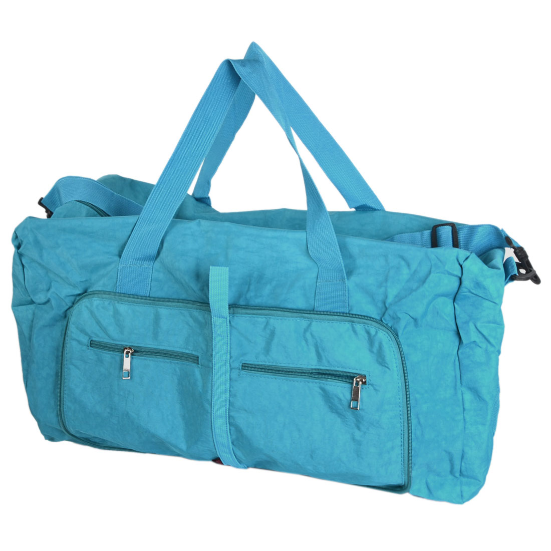 Traveling Household Foldable Pure Pattern Zipper Closure Clothes Storage Shoulder Hand Bag Holder Pouch Blue 63x45 x13cm