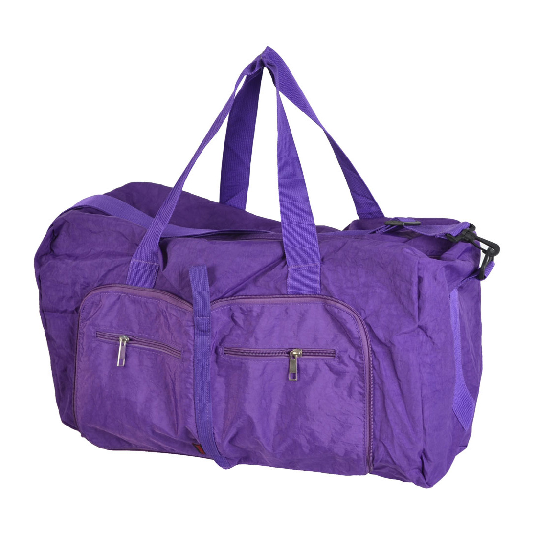 Traveling Household Foldable Pure Pattern Zipper Closure Purple Clothes Storage Hand Bag Holder Pouch 63x45x13cm