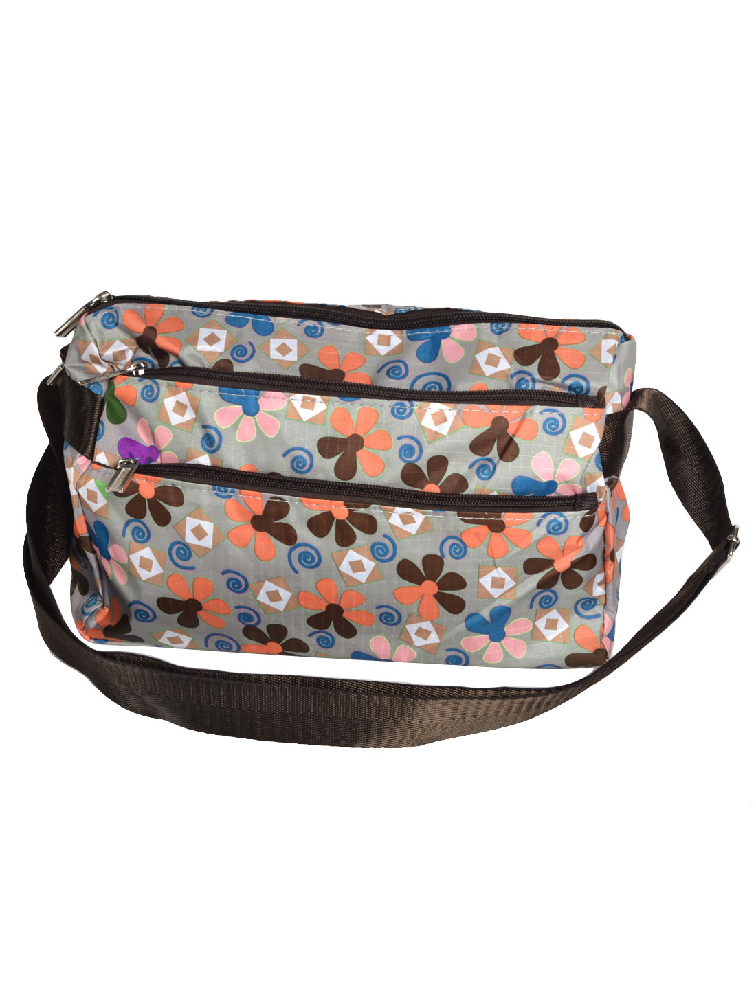 Lady Flower Pattern 3 Compartment Zipper Closure Nylon Shoulder Bag Handbag