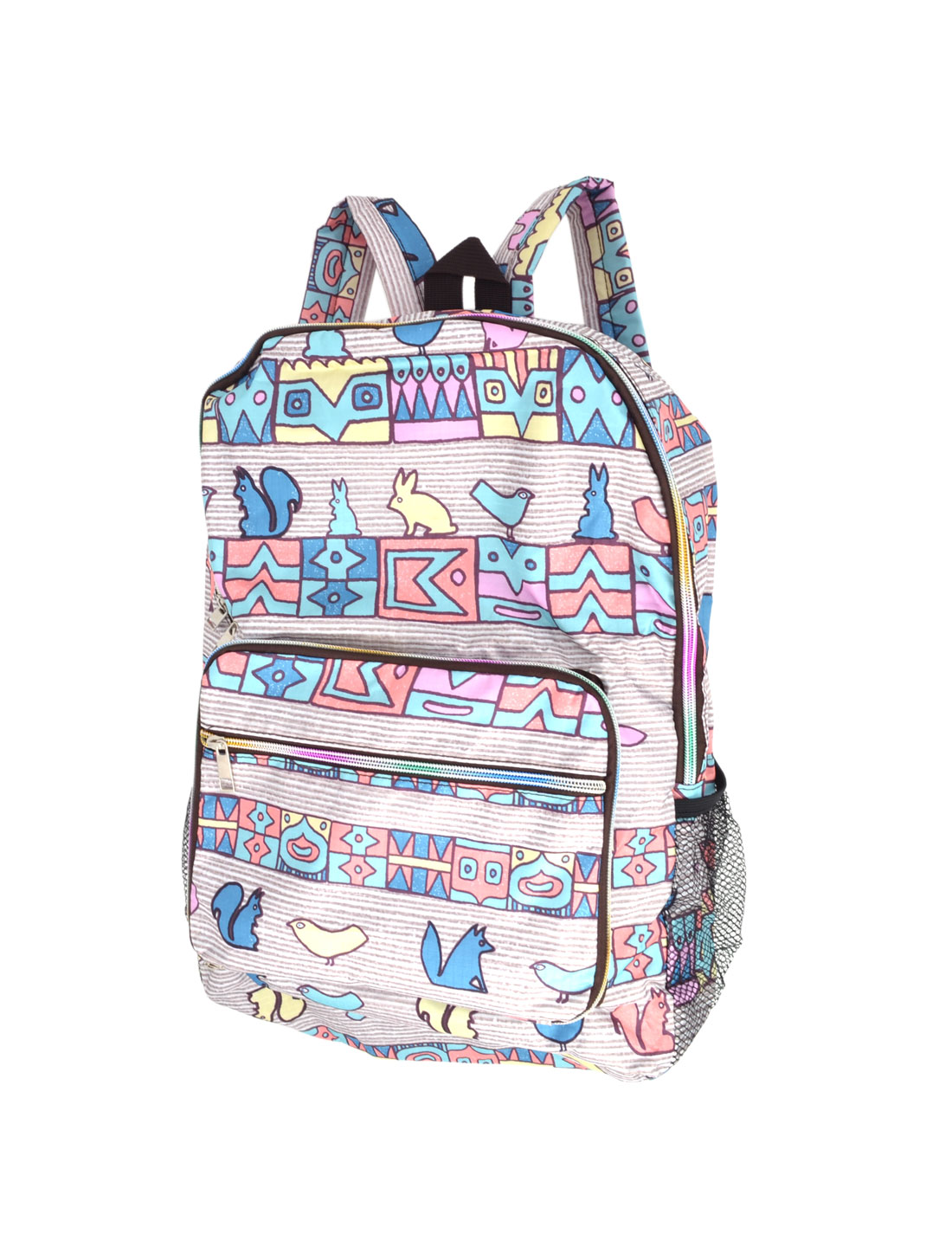 School Animal Geometric Prints Foldable Zip Up Wrist Cell Phone Packbag Bookbag Pouch