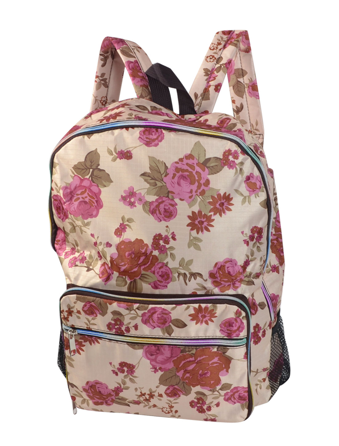 School Travel Flower Printed Foldable Zip Up Phone Pouch Double Shoulder Backpack Packbag Bookbag Pocket