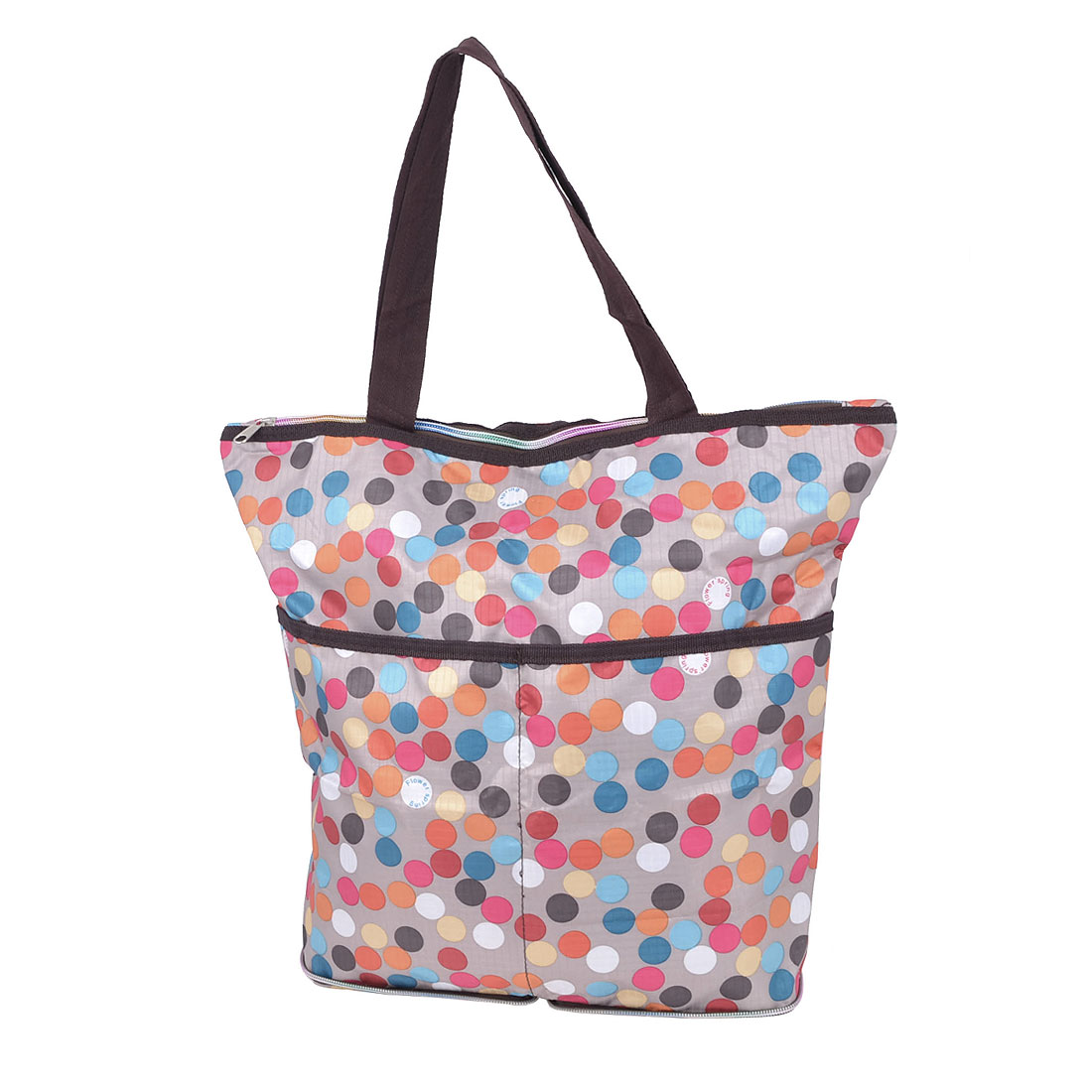 Traveling Household Foldable Dots Pattern Zipper Closure Clothes Storage Shopping Bag Holder Pouch Colorful 40x35x15cm