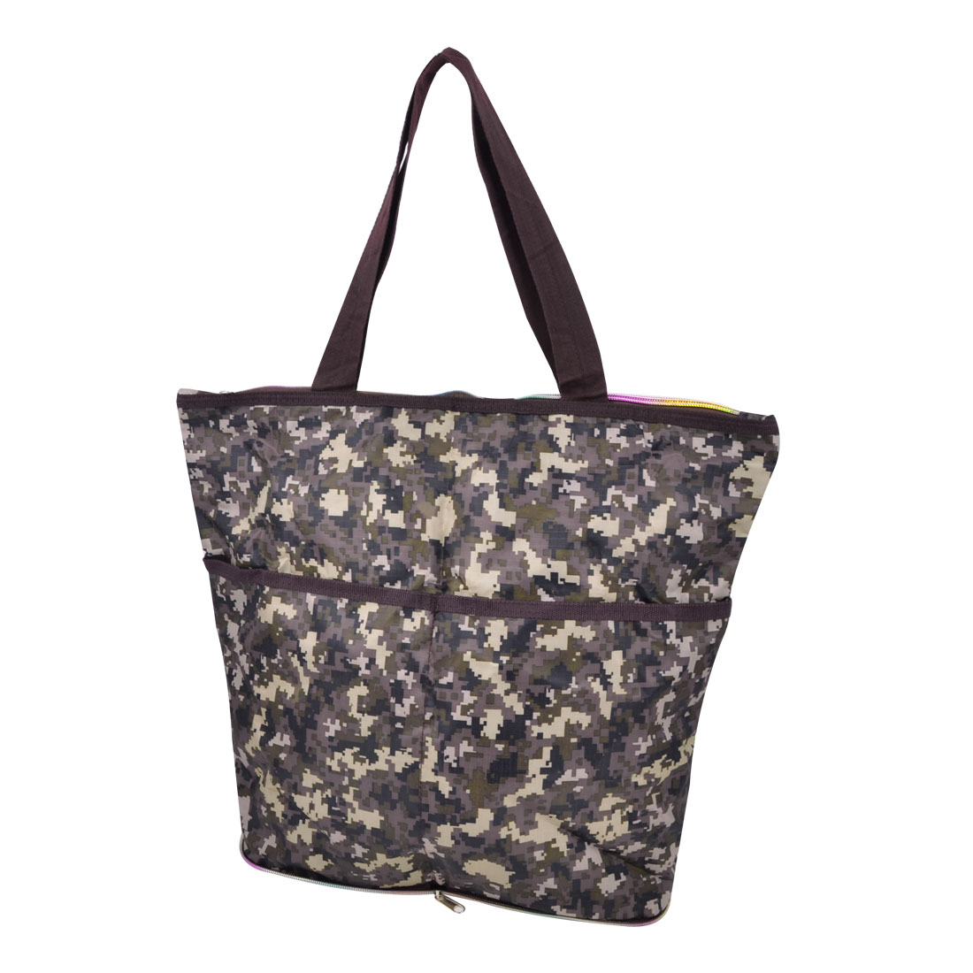 Traveling Household Foldable Camouflage Pattern Zipper Closure Clothes Storage Shopping Bag Holder Pouch 41x24x19cm