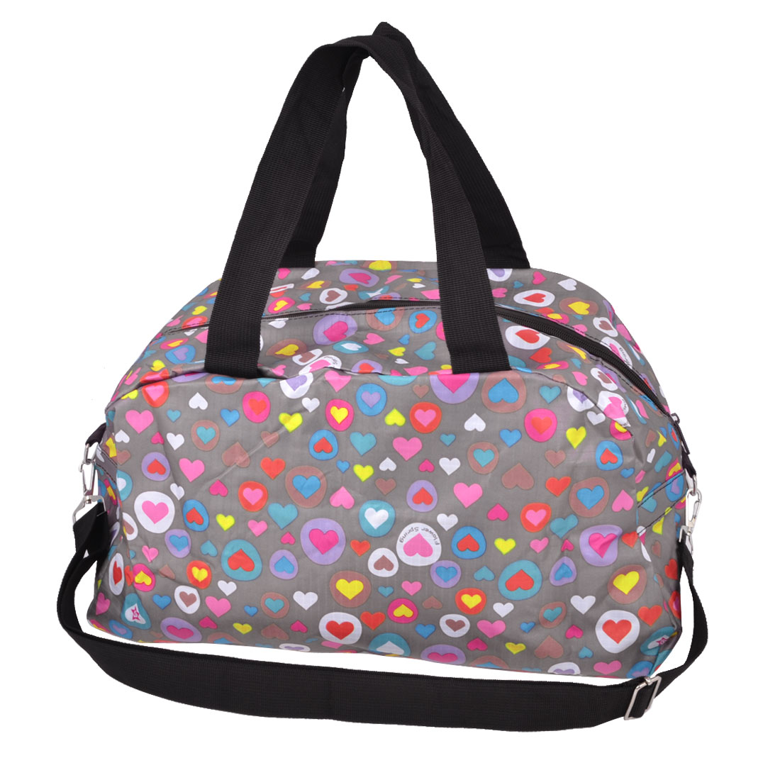 Traveling Household Foldable Hearts Print Zipper Closure Clothes Storage Bag Holder Luggage Pouch Colorful 41x24x19cm