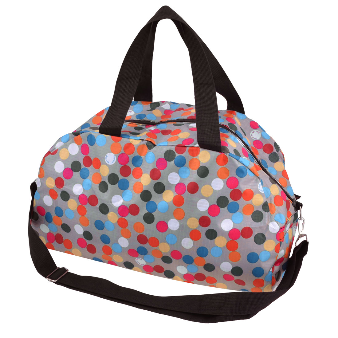 Traveling Household Foldable Colorful Dots Pattern Zipper Closure Clothes Storage Shoulder Hand Bag Pouch 50x23 x19cm