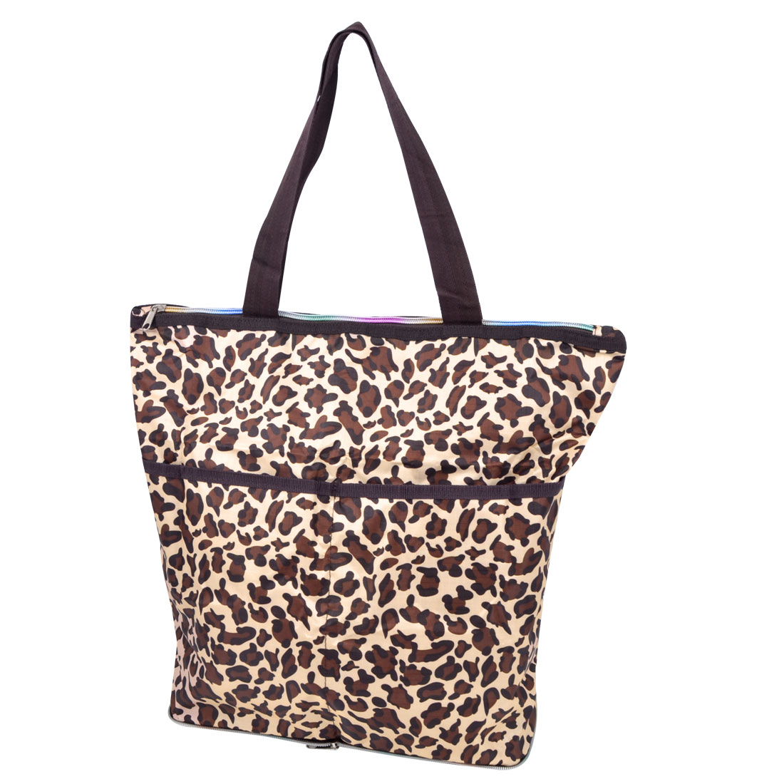 Traveling Shopping Foldable Beige Brown Cheetah Pattern Zipper Closure Clothes Storage Bag Holder Pouch 40x35x15cm