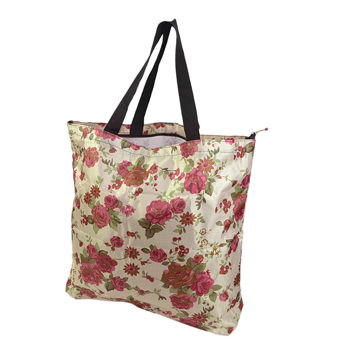 Traveling Household Foldable Flower Print Zipper Closure Storage Bag Handbag Tote Pouch Colorful 51x46x10cm