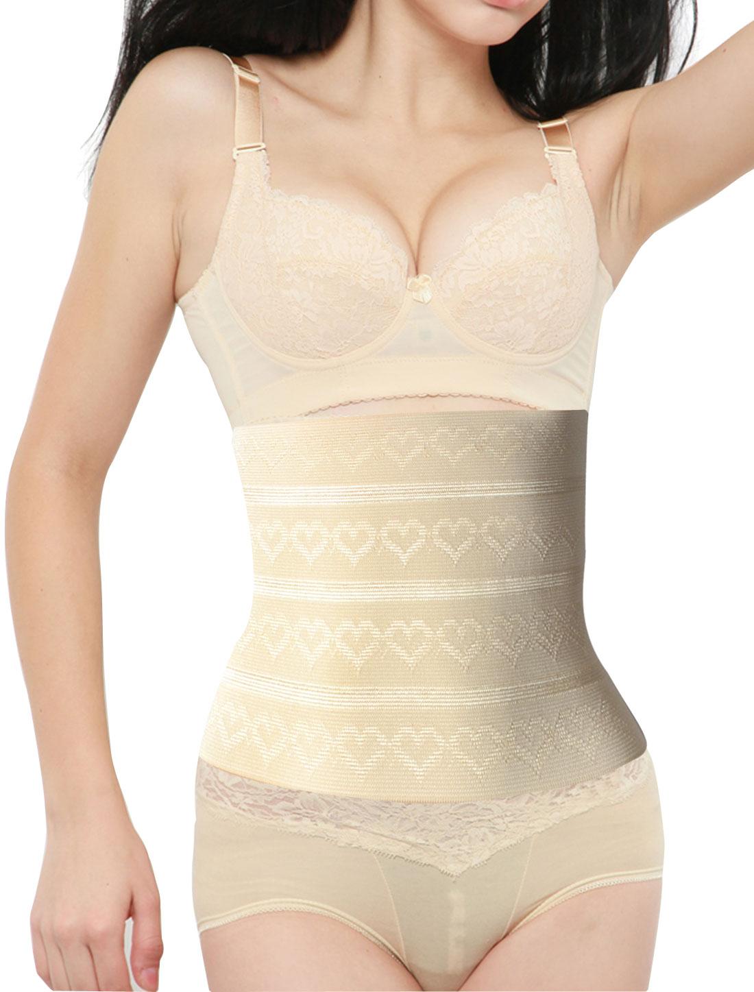 Women 3 Rows 9 Hooks Heart Pattern Shapewear Underbust Slimming Belt Corset Waist Cincher Beige XS
