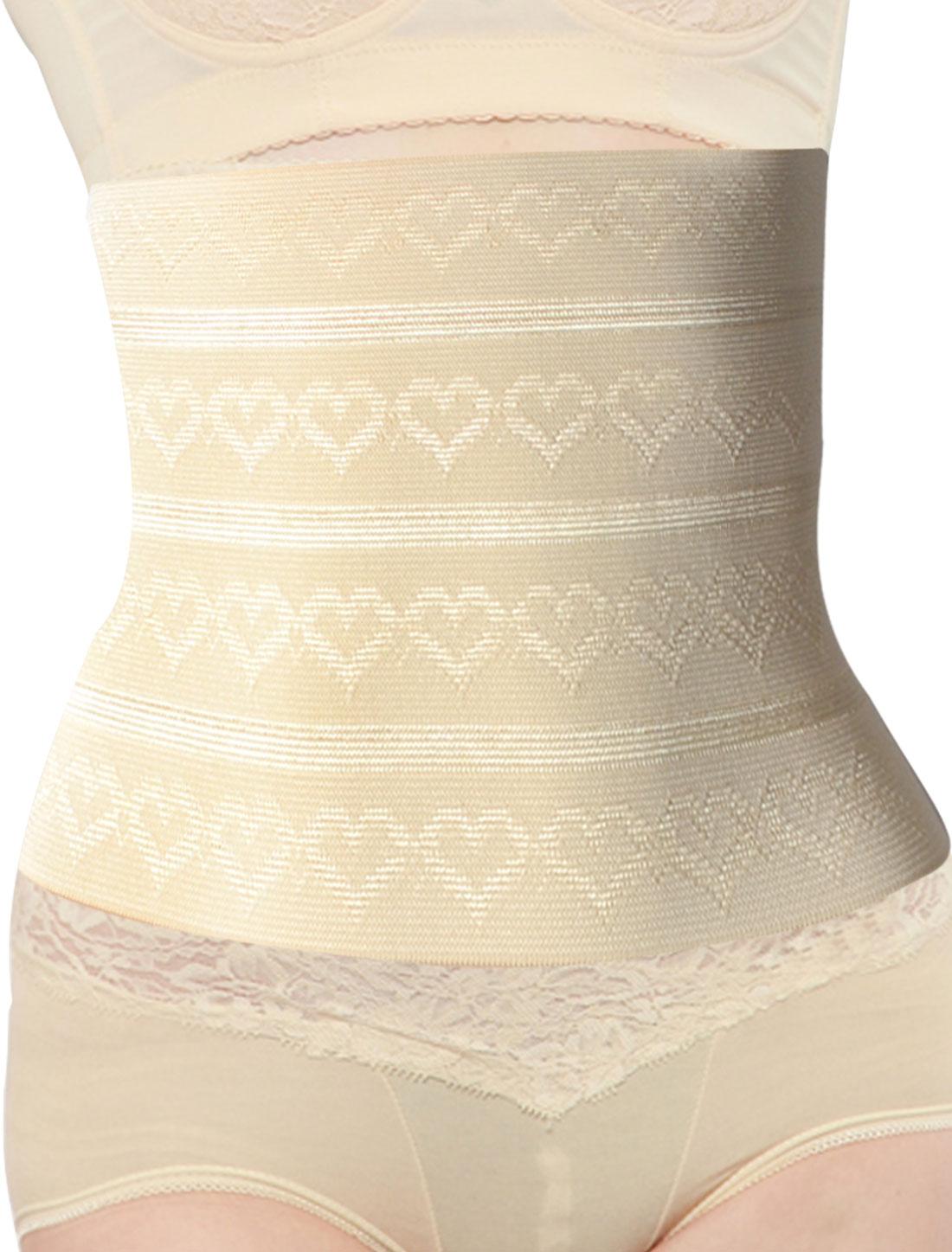 Lady 3 Rows 9 Hooks Heart Print Shapewear Underbust Slimming Belt Corset Waist Cincher Beige S