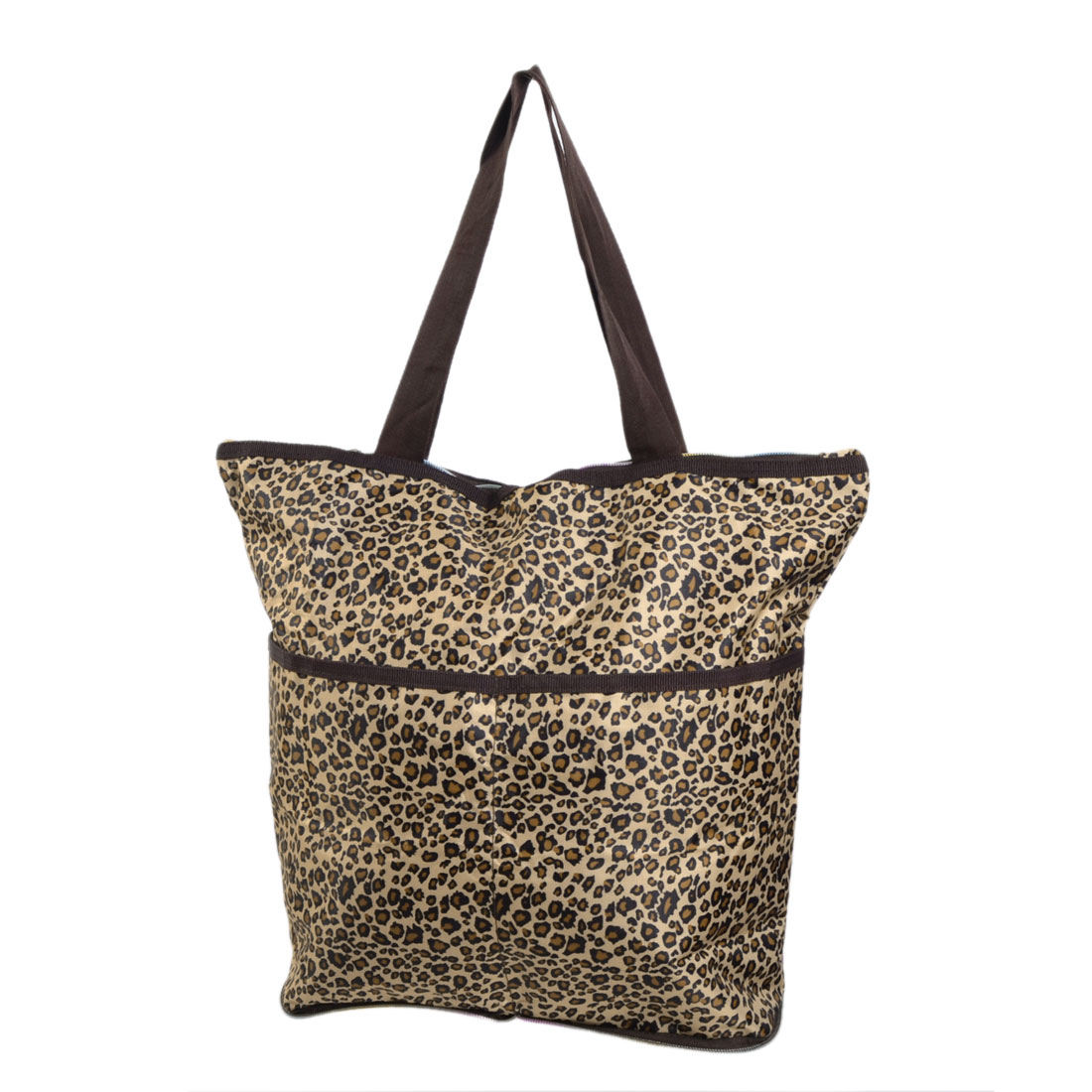 Traveling Household Foldable Leopard Pattern Zipper Closure Clothes Storage Shopping Tote Bag Pouch Brown Beige