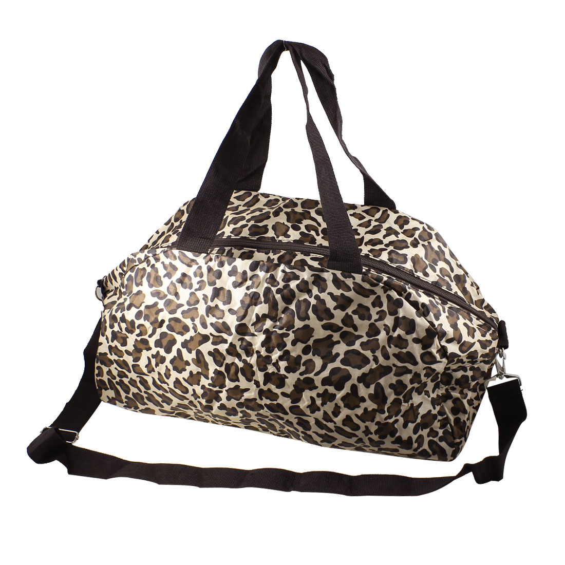 Traveling Household Foldable Brown Leopard Pattern Zipper Closure Clothes Storage Shoulder Hand Tote Bag Pouch