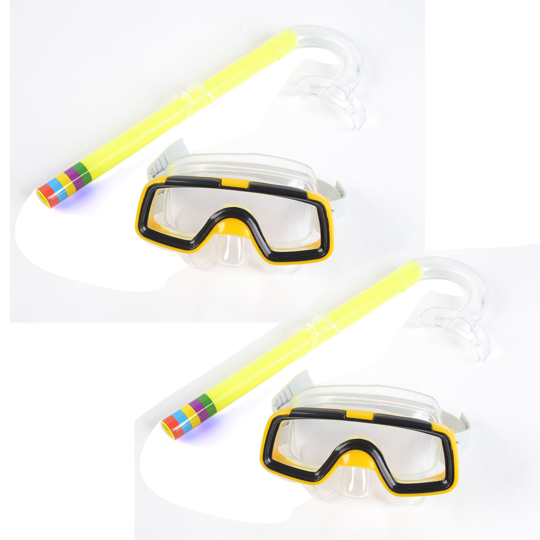 Adult Clear Lens Adjustable Strap Yellow Black Frame Goggles Mask Soft Plastic Snorkel Swim Underwater 2 Pcs Set