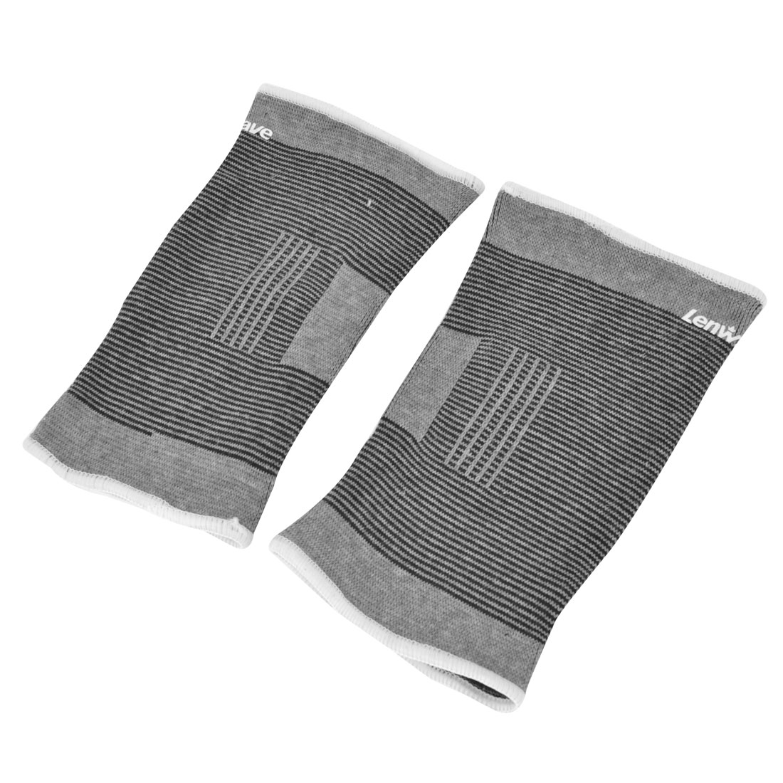 Sports Striped Fitness Elastic Elbow Protective Support Band Gray Black 2 Pcs