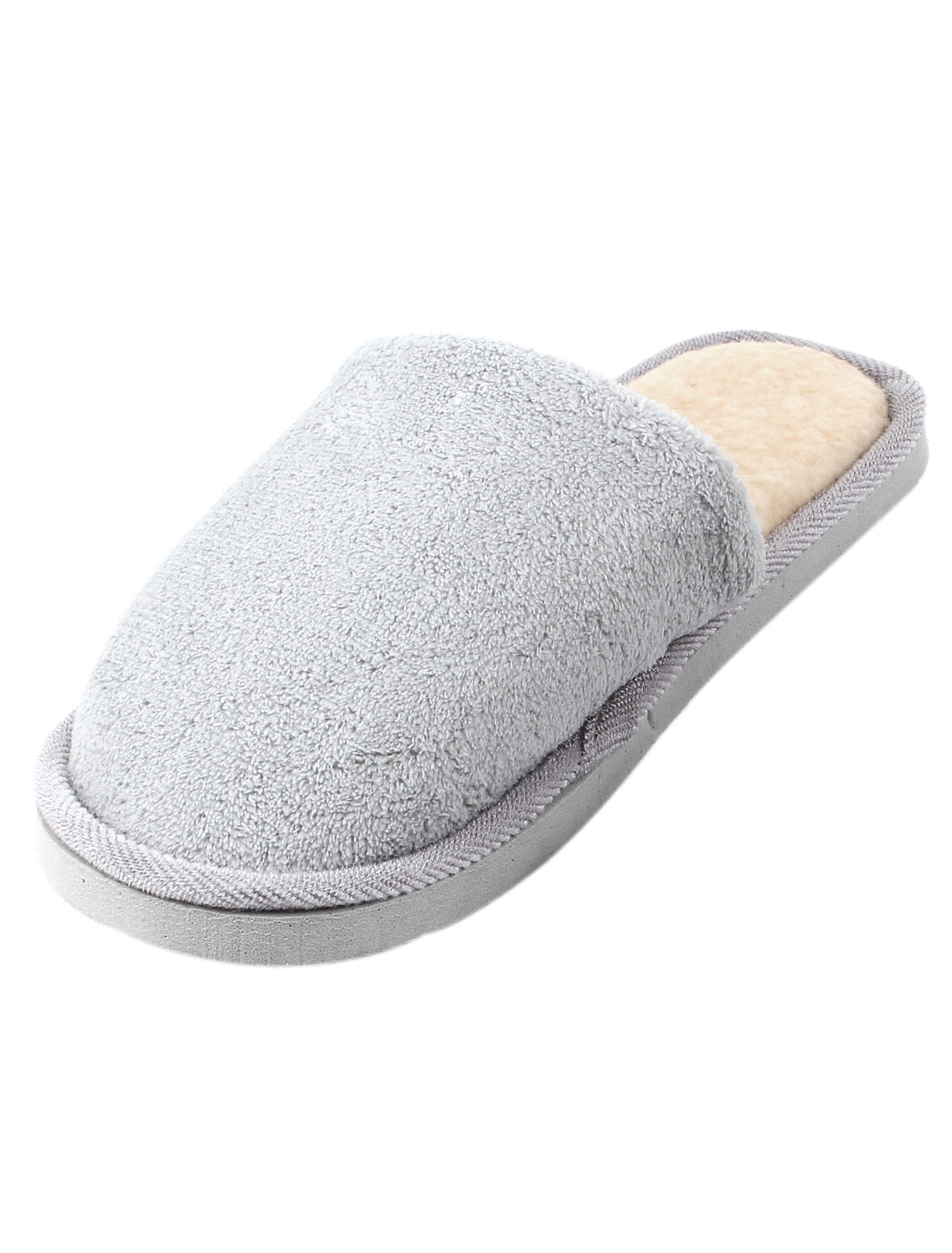 Man Nonslip Soles Gray Plush House Soft Winter Warm Slippers Flat Shoes EU 38