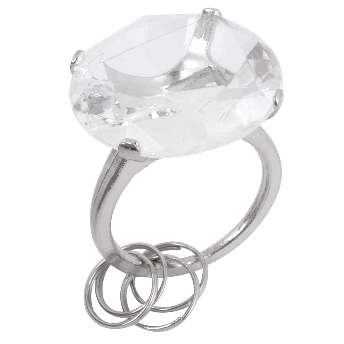 Clear White Faux Crystal Accent Plastic Circular Shape Ring Design Keyring Chain