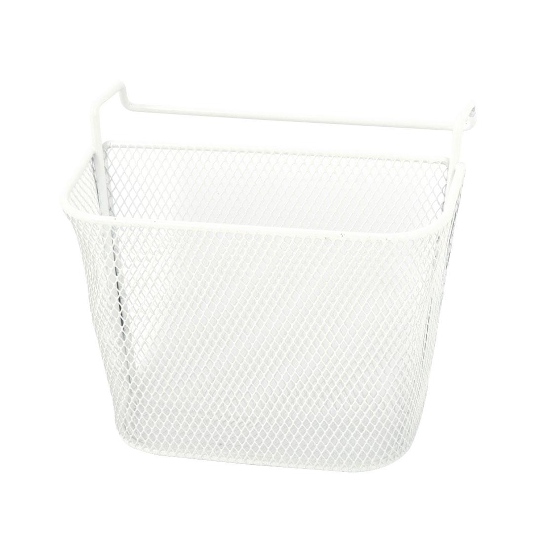 Kitchen Bathroom White Metal Mesh Basket Tool Storage Organizer Hanging Space Saver
