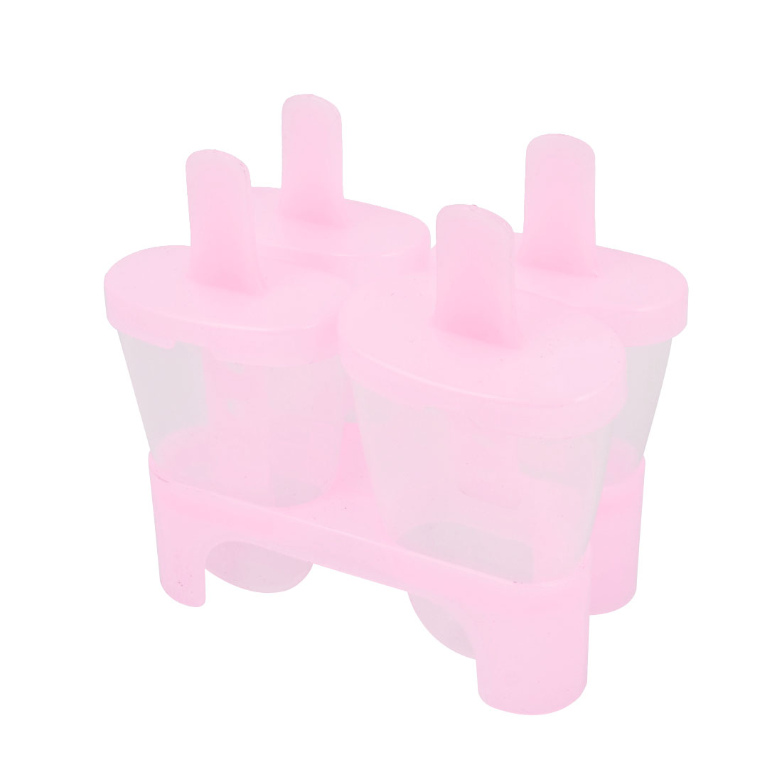 Pink 4 Compartments Plastic DIY Frozen Juice Sherbet Ice Candy Bar Mold Cover Tray