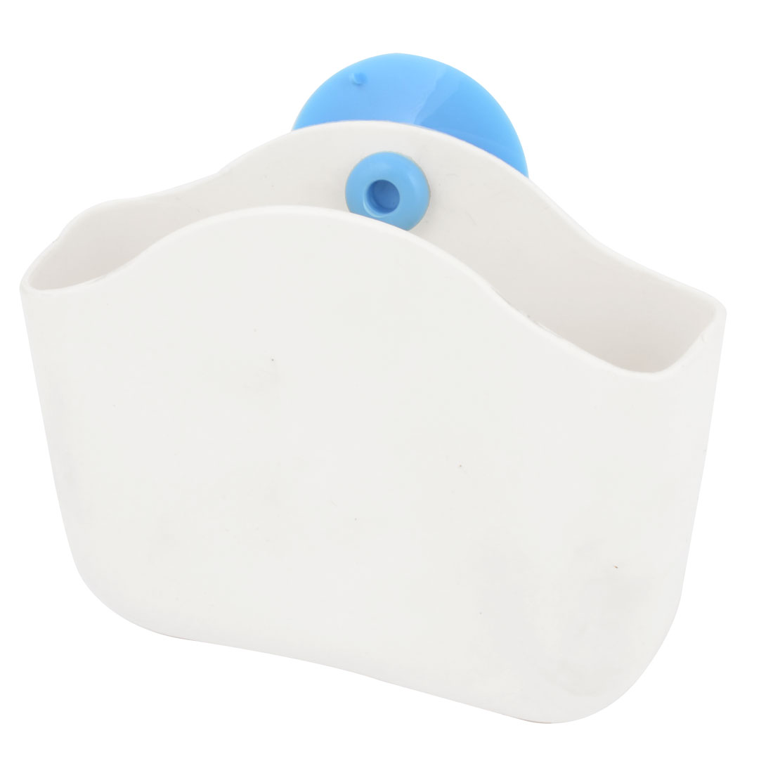 Kitchen Bathroom Blue White Suction Cup Wall Shelf Toothbrush Soap Holder Wash Rack Organizer