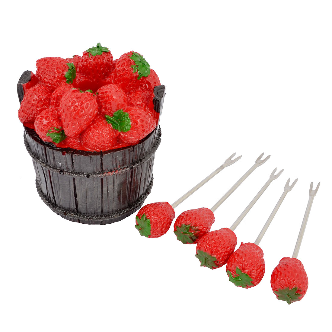 Dark Brown Bucket Shaped Holder Red Ceramic Strawberry Decor Fruit 5-Forks Set Tool