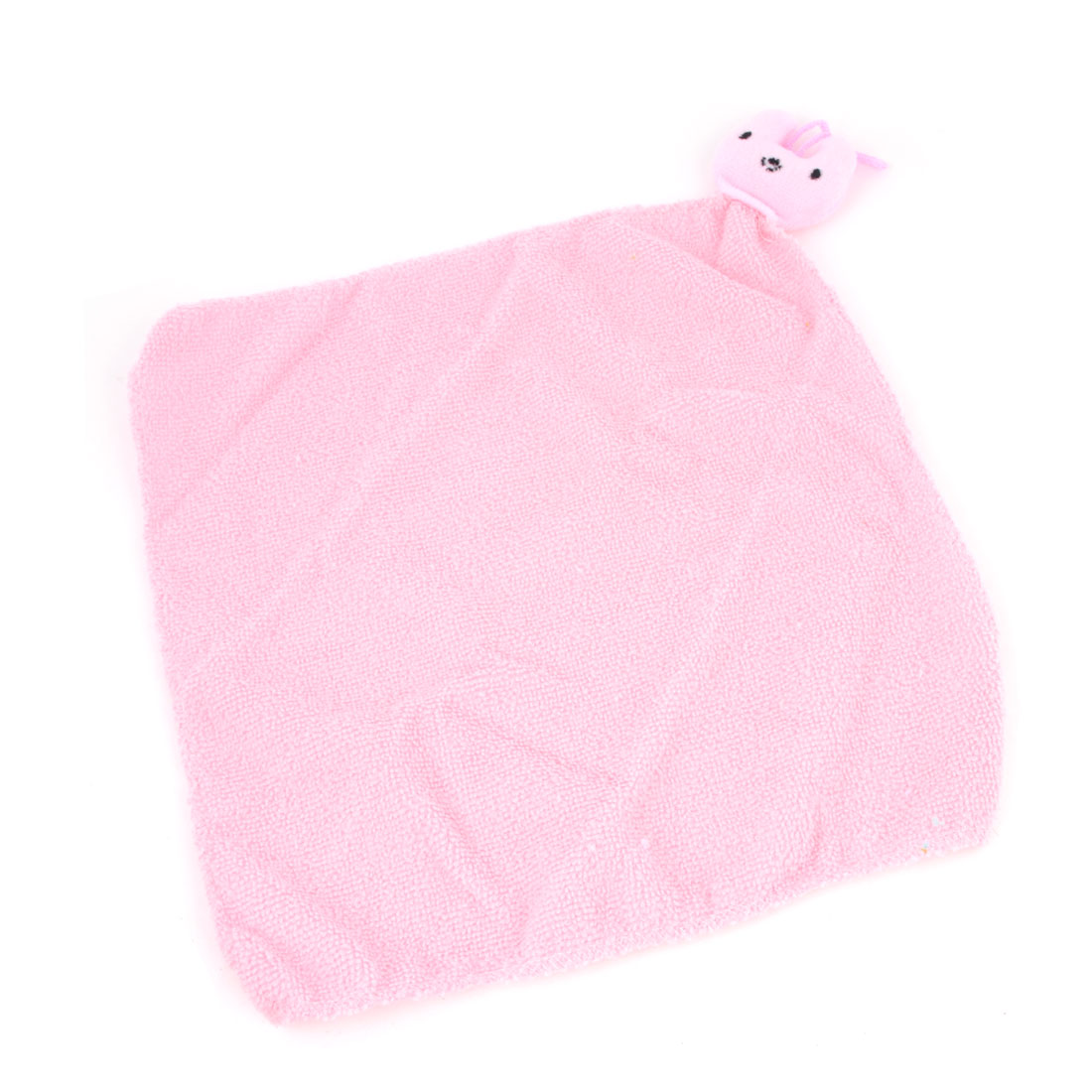 Home Pink Rabbit Decor Square Water Absorption Washcloth Soft Hanging Hand Face Cleaning Towel Cloth