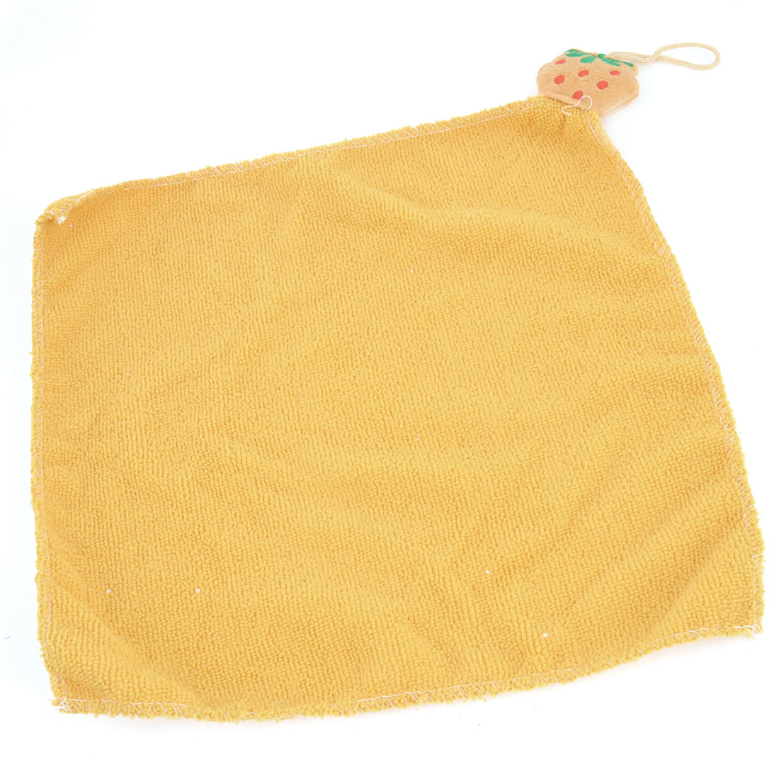 Home Orange Pear Decor Square Water Absorption Washcloth Soft Hanging Hand Face Cleaning Towel Cloth