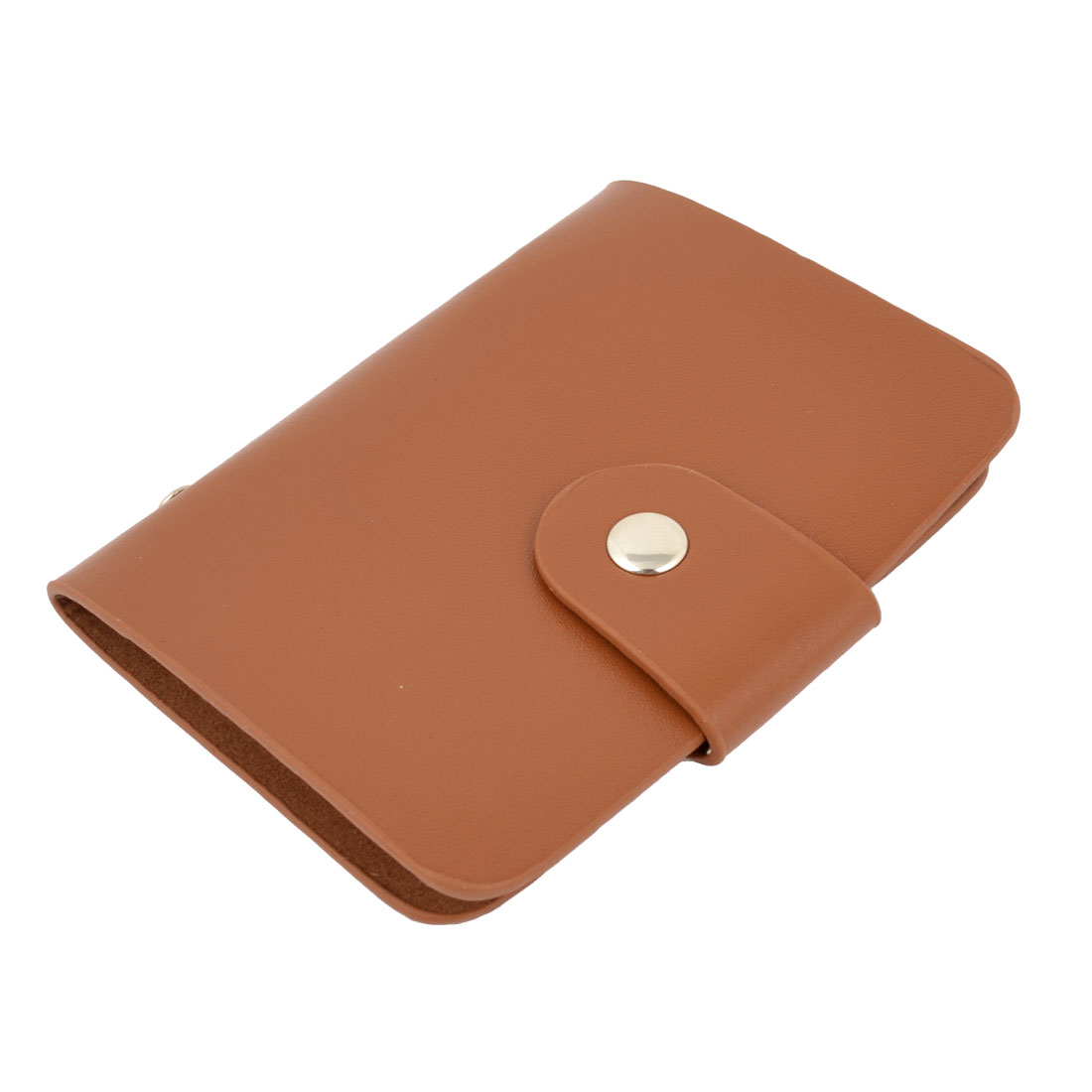Coffee Color Faux Leather Litchi Printed Press Button 24 Slots Rectangle Credit VIP Business Card Pocket Holder Organizer