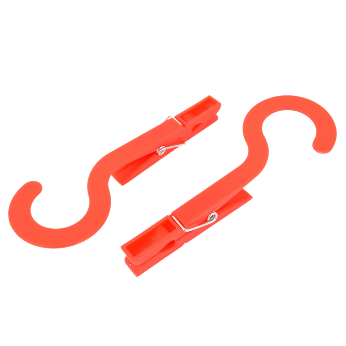 Red Plastic Spring Loaded Laundry Clothes Peg Pin Hanger Hook Clips Clamps 2 Pcs