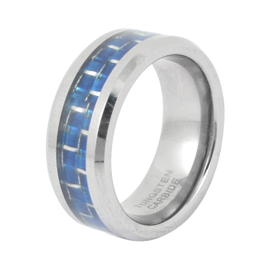 Men 8mm Wide Tungsten Steel Finger Ring Silver Tone Blue US 7 1/4
