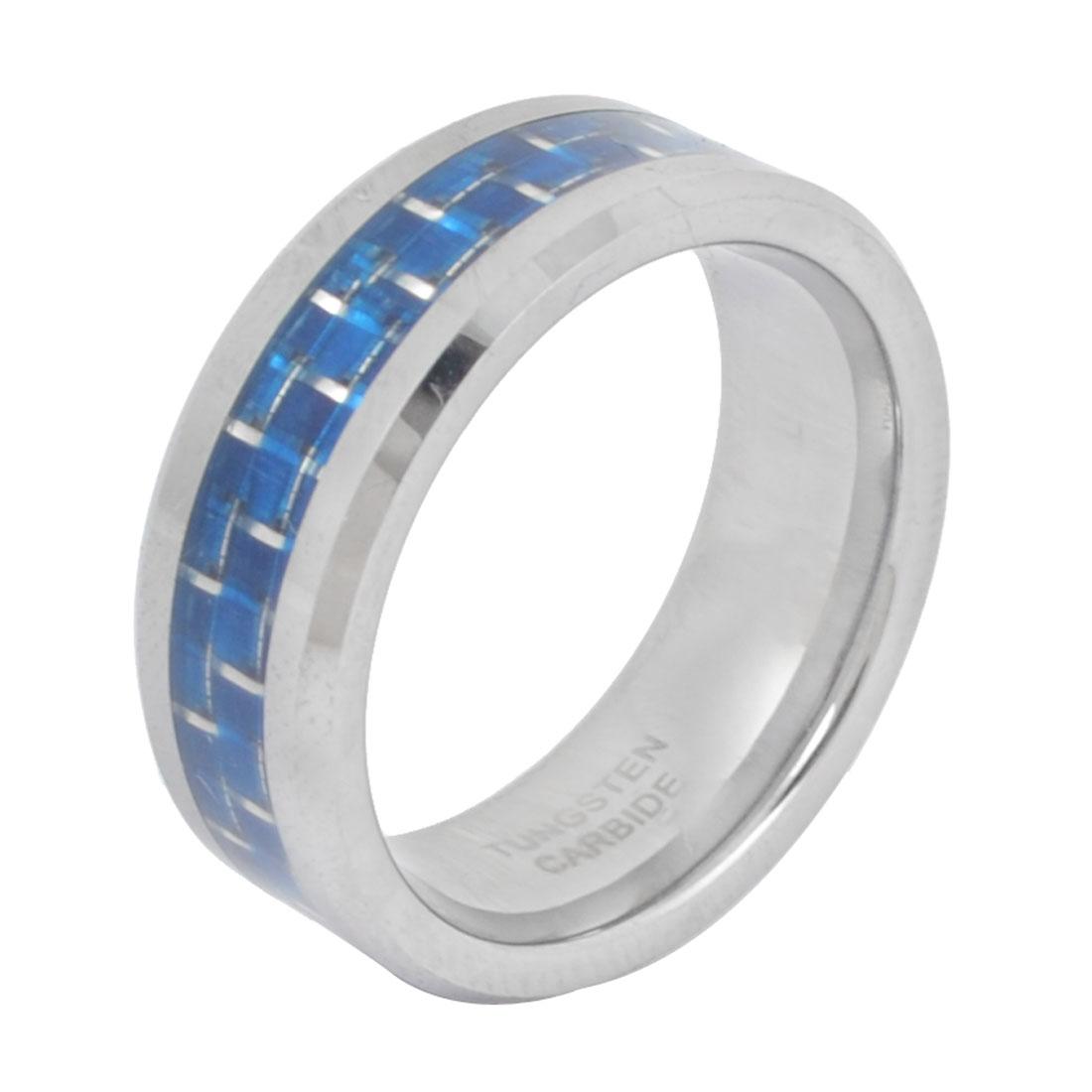 Man Finger Ornament Inside Carbon Fiber Print Ring Silver Tone Blue US 6 1/2