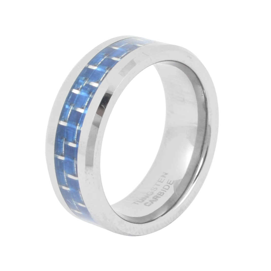 Men 8mm Wide Tungsten Steel Finger Ring Silver Tone Blue US 8 1/2