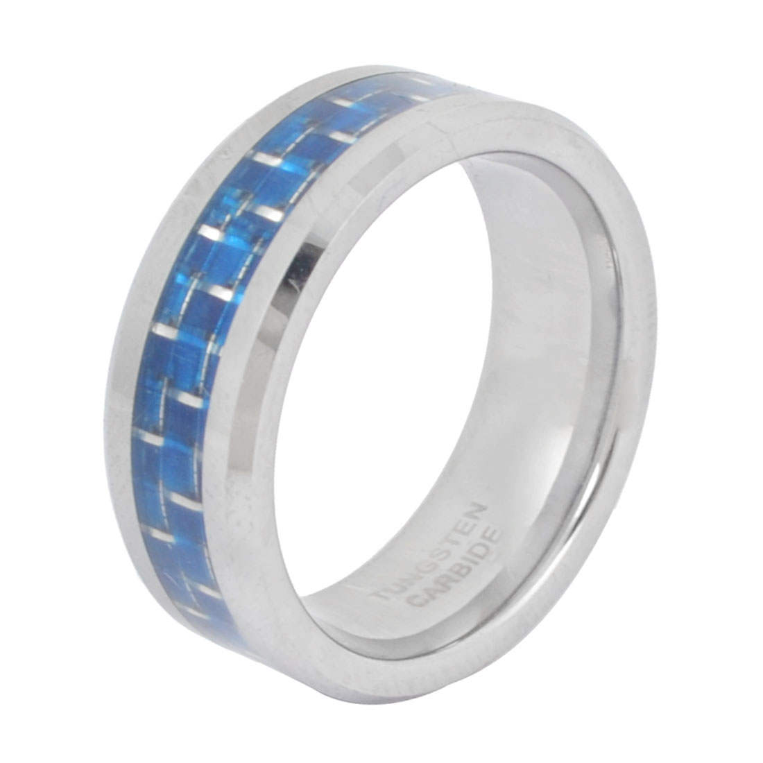 Men 8mm Wide Tungsten Steel Finger Ring Silver Tone Blue US 9