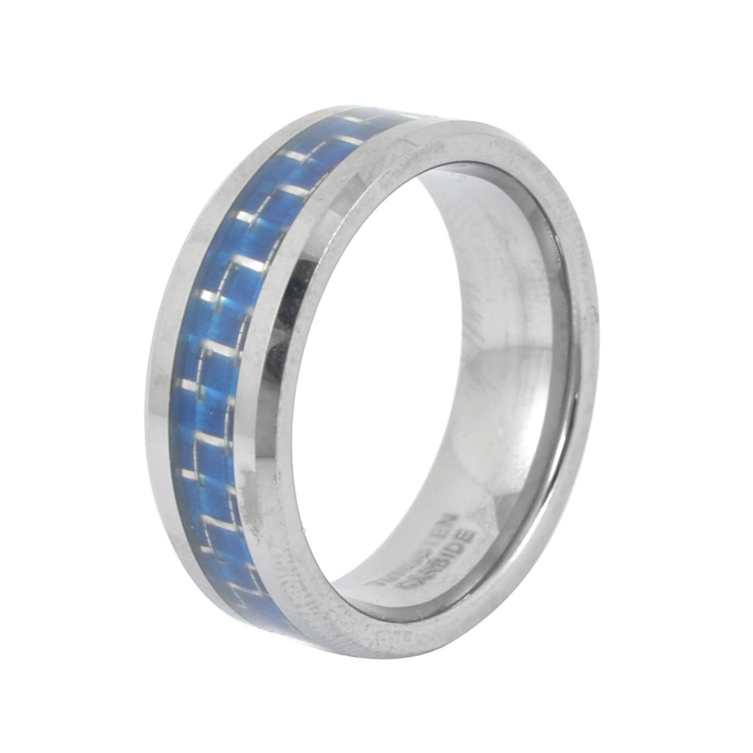 Silver Tone Blue 8mm Width Finger Ring Decoration US 10 1/2 for Man