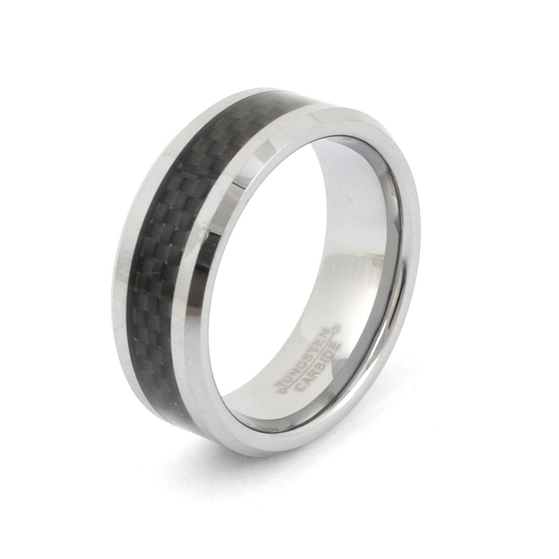 Silver Tone Black 8mm Width Finger Ring Decoration US 9 for Man