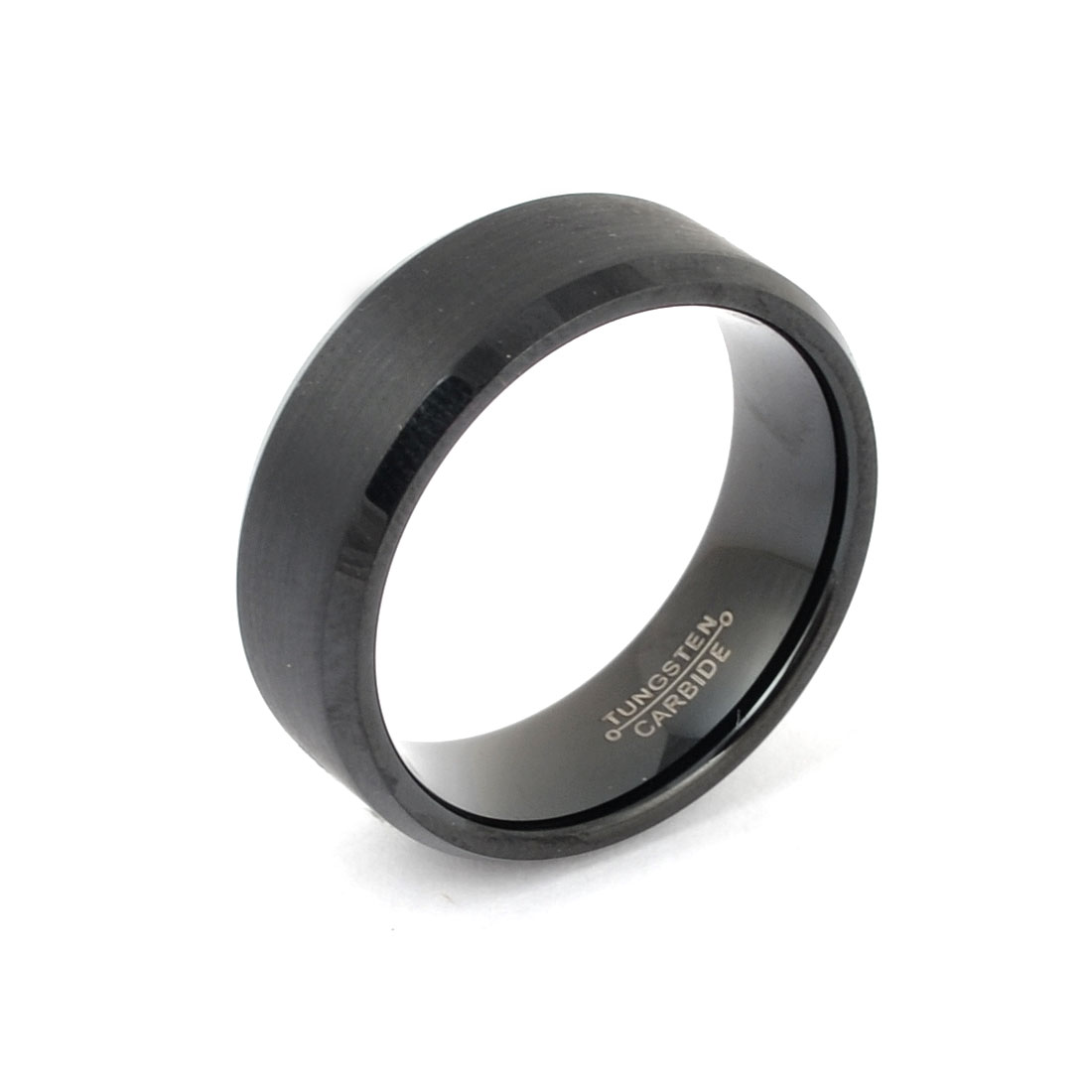 Men 67mm Circumference Tungsten Steel Band Ring Finger Detailing Black Us 11 3/4( 12#)