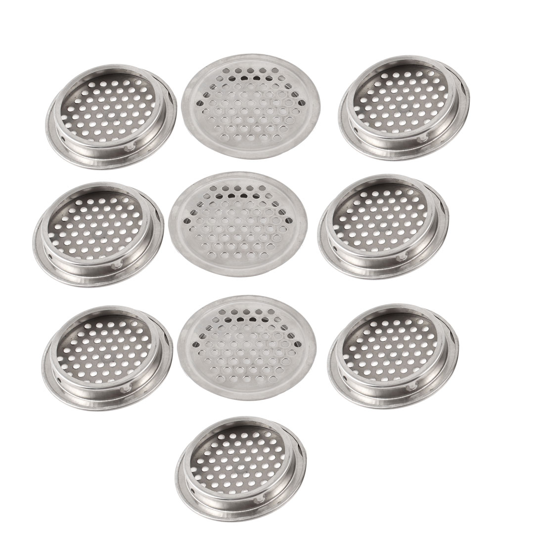 "Kitchen Silver Tone Metal 2.5"" Diameter 3.5mm Hole Sink Strainer Drainer 10 Pcs"