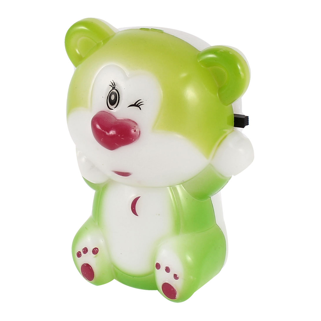 AC 110-250V US Plug Office White Green Plastic Bear Shape LED Night Light