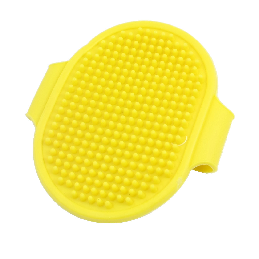 Pet Cat Dog Rabbit Rubber Adjustable Massage Grooming Bath Glove Hair Fur Brush Comb Yellow